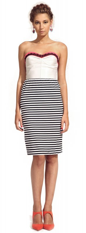 Stripped jersey skirt