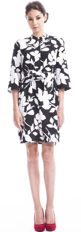 Printed shirt dress