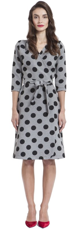 Wrap dress with polka dots