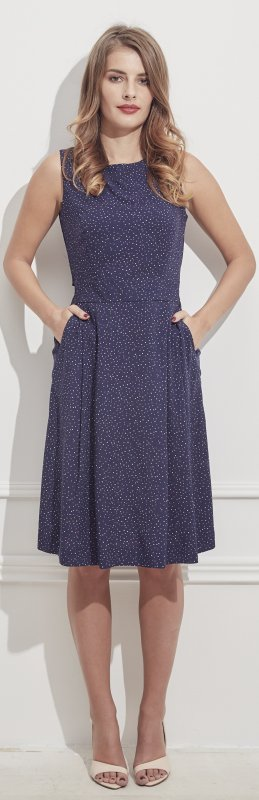 Princess navy dress with dots